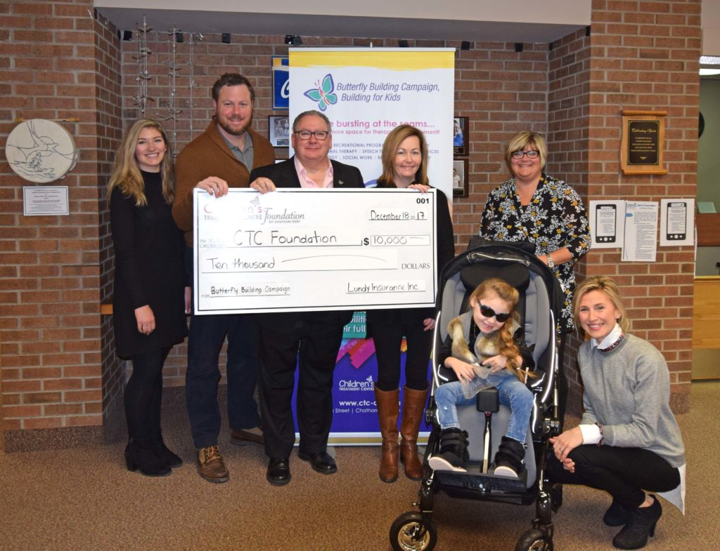 Lundy Insurance donates $10,000 to support Butterfly Building Campaign's Music Therapy Program