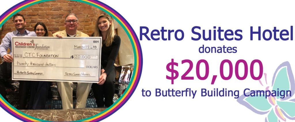 Children's Treatment Centre Foundation of Chatham-Kent, Retro Suites Hotel donates $20,000