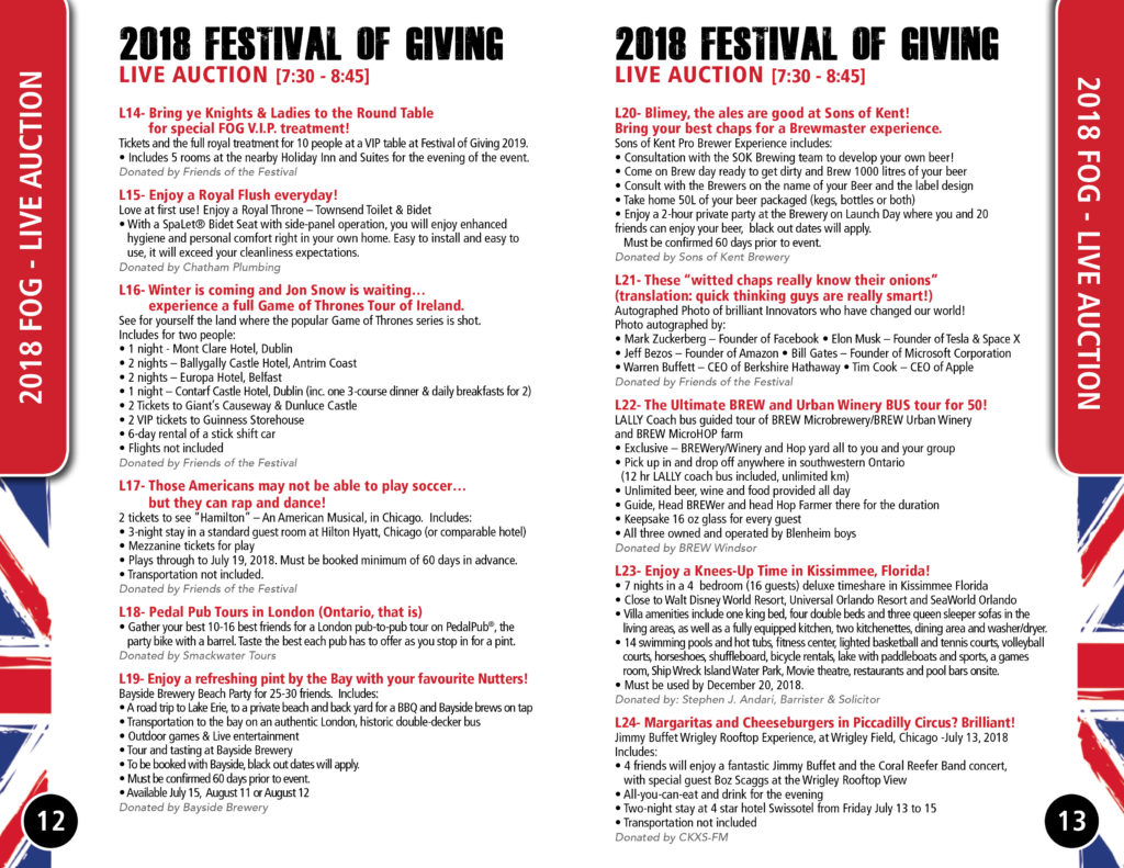 CTC Foundation Festival of Giving Live Auction List A