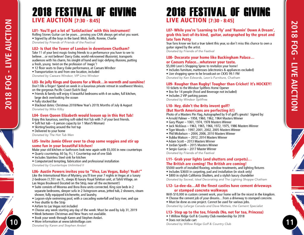 CTC Foundation Festival of Giving Live Auction List B
