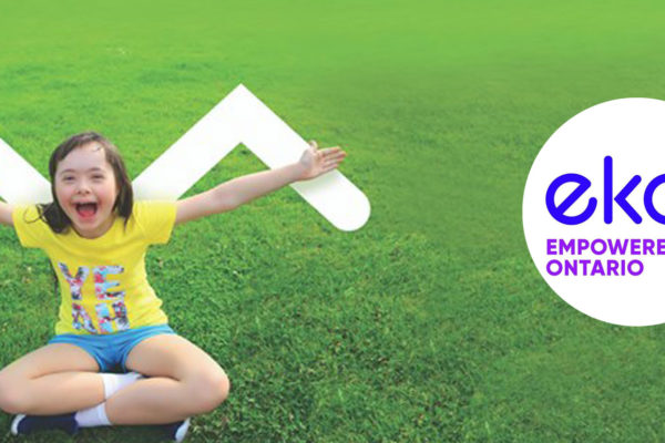 Empowered Kids web banner, photo of little girl, logo